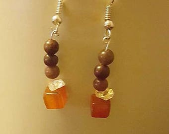 Amber glass beaded dangle earrings