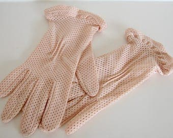 Vintage Gloves Kayser Pink Ruffles Dotted Made in USA