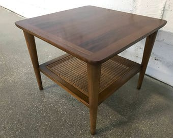Mid Century Modern Vintage Lane End Table Walnut w/ Caning Style 1024 18 MCM Retro Occasional Table Accent Table Nightstand