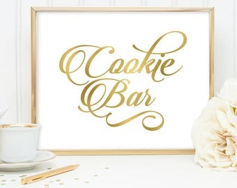 Cookie Bar Sign DIY, Wedding Dessert Sign, Cookies / Gold Wedding Sign / White Gold Calligraphy, Faux Metallic Gold ▷Instant Download JPEG