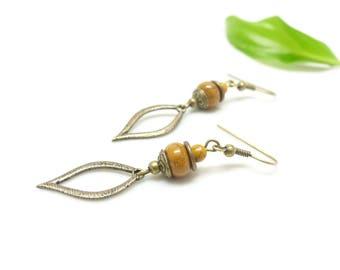 Bohemian earrings ~ sand Orpiment. ~
