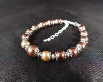 Bracelet ~ ivory lands ~ Shades of taupe pearl beads / coffee.