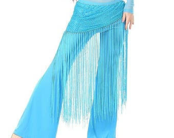Sequin Belly Dance Yoga Fitness Hip Scarf Wrap Waist Belt with Long Tassels