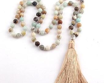 Amazonite Stone Bead Buddha Charm Beige Tassel Necklace 32 Inches