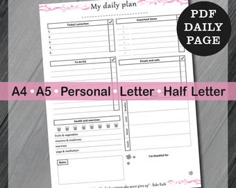 Printable Day On One Page Inserts, Digital Planner Daily Organizer, Daily Planner Inserts, Page Planner