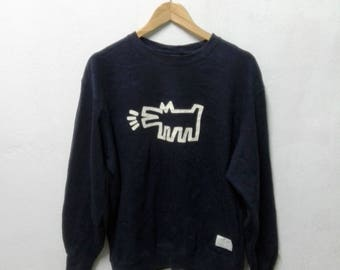 Rare KEITH HARING Sweatshirt Andy Warhol Big Logo Crewneck Hip Hop Sweater Sz L
