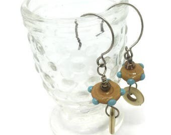 Mustard and Turquoise Lampwork Bead Earrings