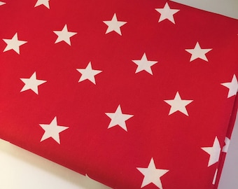 White Stars on Red Cotton Fabric, Star Fabric - 100% Cotton, Dressmaking and Quilting Fabric - Fat Quarter