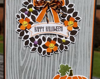 HALLOWEEN Wreath, Handmade Card Kit, STAMPIN' UP Fall Fest, Set of 4 Cards