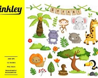 Safari Animal Clipart, Safari Animal Clip Art, Safari Animal Png, Safari Clipart, Cute Animal Clipart, Hippo, Lion, Snake, Giraffe, Elephant