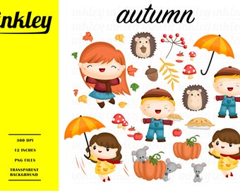 Autumn Kid Clipart, Autumn Kid Clip Art, Autumn Kid Png, Pumpkin Clipart, Hedgehog Clipart, Cute Animal Clipart, Season Clipart, Mouse
