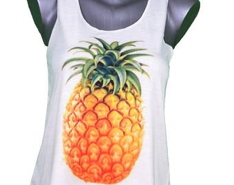 tank top - fruit - pineapple-printed woman size unique (36-40) / / pineapple fruit print - tropical tank-top - single size woman