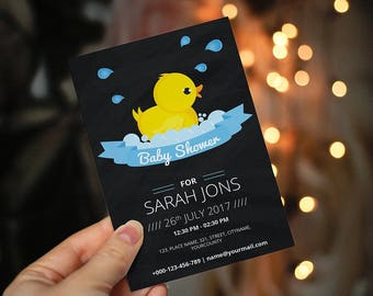 Rubber Ducky Baby Shower Invitation, Rubber Ducky baby Shower Invitation, Duck Baby Shower Invitation, Baby Duck Shower Invitation