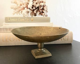 Chinese Brass / features vintage / brass bowl / brass compote/ patina / entry / Asian / mid century decor /