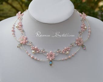 Bridal necklace and rose, pearls, Swarovski crystals, Crystal, wedding, bridal necklace, pink jewelry, crystal drop jewelry drops