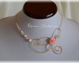 Porcelain - wedding, gold wire necklace, wire jewelry, bridal jewelry pink jewelry, Bridal golden thread, pink rose necklace