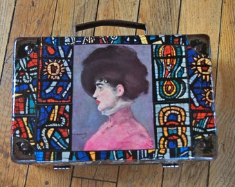 "Small suitcase old ""Rosy"" collage of portraits and stained glass"
