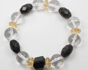 Clear Quartz, Citrine, Labradorite and Tourmaline Bracelet
