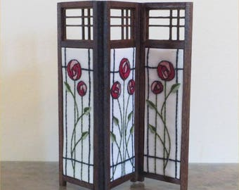 Mackintosh Style 1/12th Scale Dolls House 3 Panel Screen