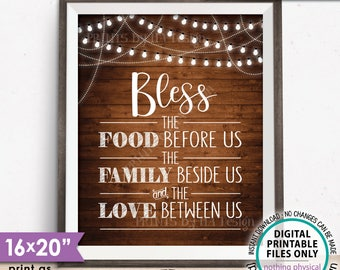 """Bless the Food Before Us The Family Beside Us Love Between Us Kitchen Wall Decor Rustic Wood Style PRINTABLE 8x10/16x20"""" Instant Download"""