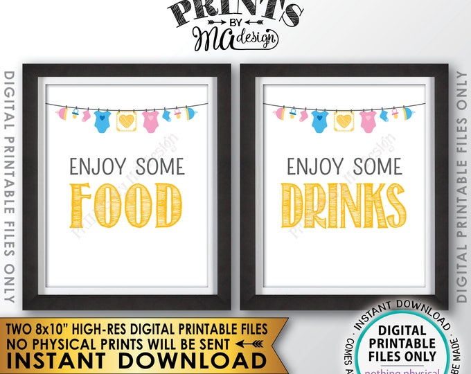 "Food and Drinks Signs for a Baby Shower or Gender Reveal Party, Baby Sprinkle Food & Drink Signs, Two 8x10"" Printable Instant Download Files"