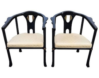 Pair of Asian Style Lacquered Armchairs by Century