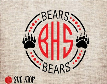 Bears Monogram Frame - SVG, DXF, PNG, Jpg, Eps - Cut File - Silhouette, Cricut, Sublimation Printing - Instant Digital Download