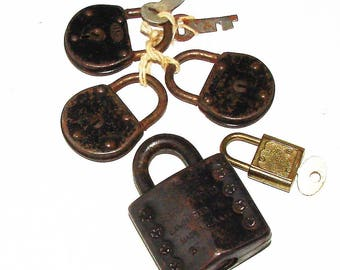 5 Old Corbin Padlocks with key n  Reese Lock Without Key n One Other