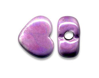 1 heart ceramic Greek 12 x 10 mm lilac