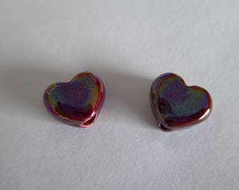 1 heart ceramic Greek 12 x 10 mm Red