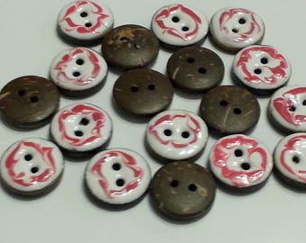 Beautiful white and red enameled coconut button