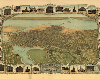 Oakland CA Panoramic Map dated 1900. This print is a wonderful wall decoration for Den, Office, Man Cave or any wall.