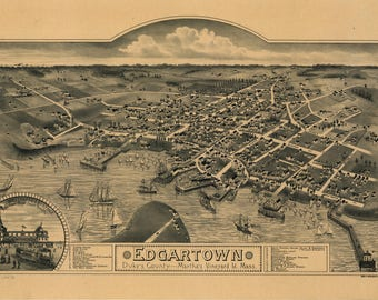 Edgartown Mass Panoramic Map dated 1886. This print is a wonderful wall decoration for Den, Office, Man Cave or any wall.