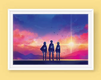 Anime Art Poster: To the World Beyond, Anime Sunset, Anime Scenery Poster