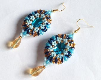 Light blue and topaz Marquise earrings