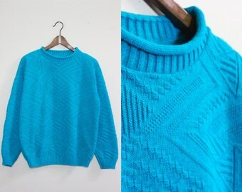 Vintage Turquoise Sweater With Aztec Graphic Knit Pattern