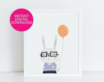 boys bedroom decor, boys nursery decor, cute rabbit print, nursery printable, nursery art, digital print, baby boy gift, nursery wall art