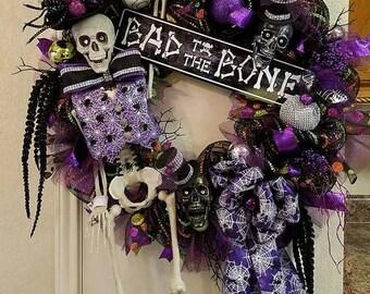 ON SALE Halloween Skeleton Wreath, Bad To The Bone Wreath, Skeleton Wreath, Xl Halloween Decor,Skeleton,Halloween Decor,Purple and Bla