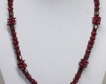 Ruby herringbone necklace