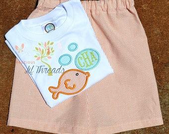 Boys Monogrammed Fish Shirt- Toddler Boys Monogrammed Fish Shirt- Personalized Shirt- Short Set- Size 6m, 12m, 18m, 2t, 3t, 4t, 5t, 6