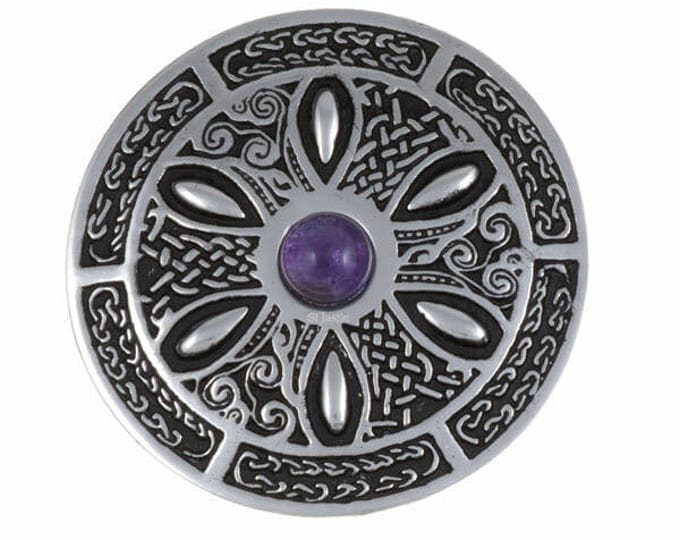 Celtic Wheel Gemstone Brooch February Birth Stone Ideal Gifts For Birthday- Mother Day-  Made and Design in UK