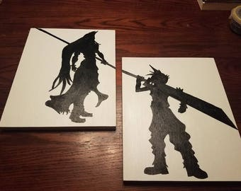 Cloud and Sephiroth Final Fantasy Silhouette painting set