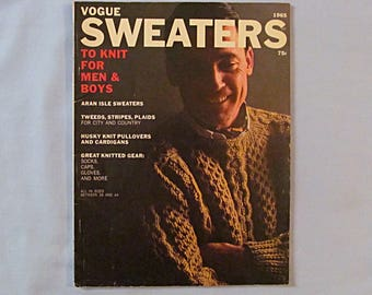 Knitting Pattern Magazine 'Vogue Sweaters' Knits for Men and Boys, 1965