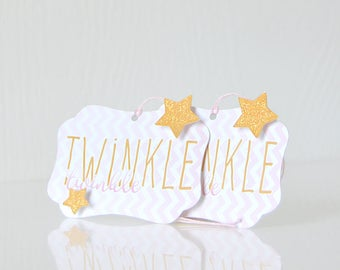 Chevron Stars Gift Tags: patterned tags, present, hanging tags, glittered, sparkles, twinkle twinkle, stripes, pink and white - LRD032TG