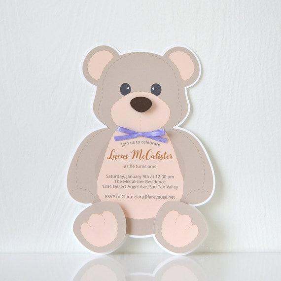 Teddy Bear Invitations: birthday, card, party invitation, baptism ...