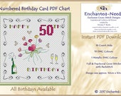50th Birthday Card PDF Cross Stitch Chart // Cross Stitch Pattern // Instant Download // Cross Stitch PDF // Birthday Card // PDF Pattern