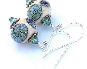 Lampwork Earrings/ Ivory Earrings/ Murrini Earrings/ Silver Glass Beads