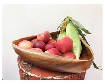 Vintage Wood Triangle Bowl -- Monkey Pod Wood Bowl -- Triangle Wood Bowl -- Mid Century Mod Wooden Bowl -- Monkey Pod Wood - Wood Fruit Bowl