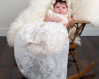 Louisa Newborn Christening Gown, Newborn Baptism Gowns & Dresses, Newborn Lace Gown