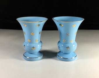 Vintage Blue Opaline Glass, Czechoslavakian Glass, Bohemian Glass, Hand Blown Glass Vase, Pair of Vases, Gold Gilt, Flared Glass Vase